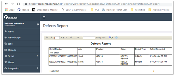 Defects Report
